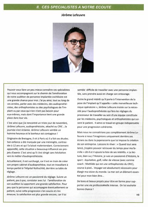 Jérôme Lefeuvre invité de l'Association d'IdF des Implantés Cochléaires